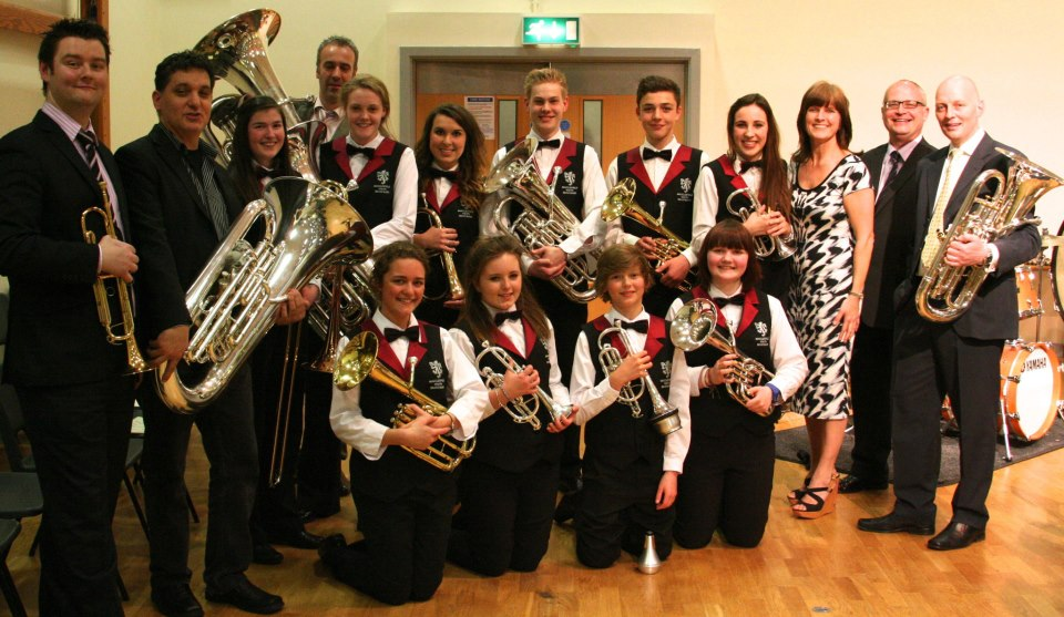 Rex Richardson with Tubalate and some of the 'retiring' youth band members